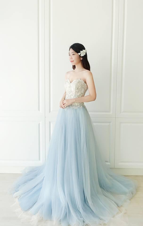 冰雪藍柔紗晚禮服 - 愛情蔓延精緻婚紗 - 台中婚紗 | 禮服出租 | 婚紗推薦