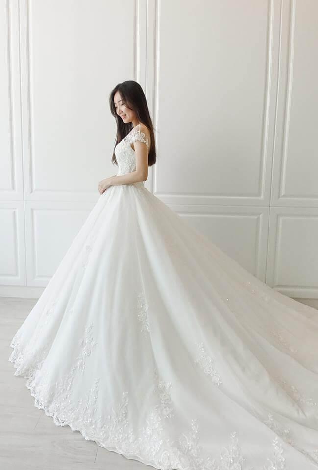 透膚卡肩雙層蕾絲白紗 - 愛情蔓延精緻婚紗 - 台中婚紗 | 禮服出租 | 婚紗推薦