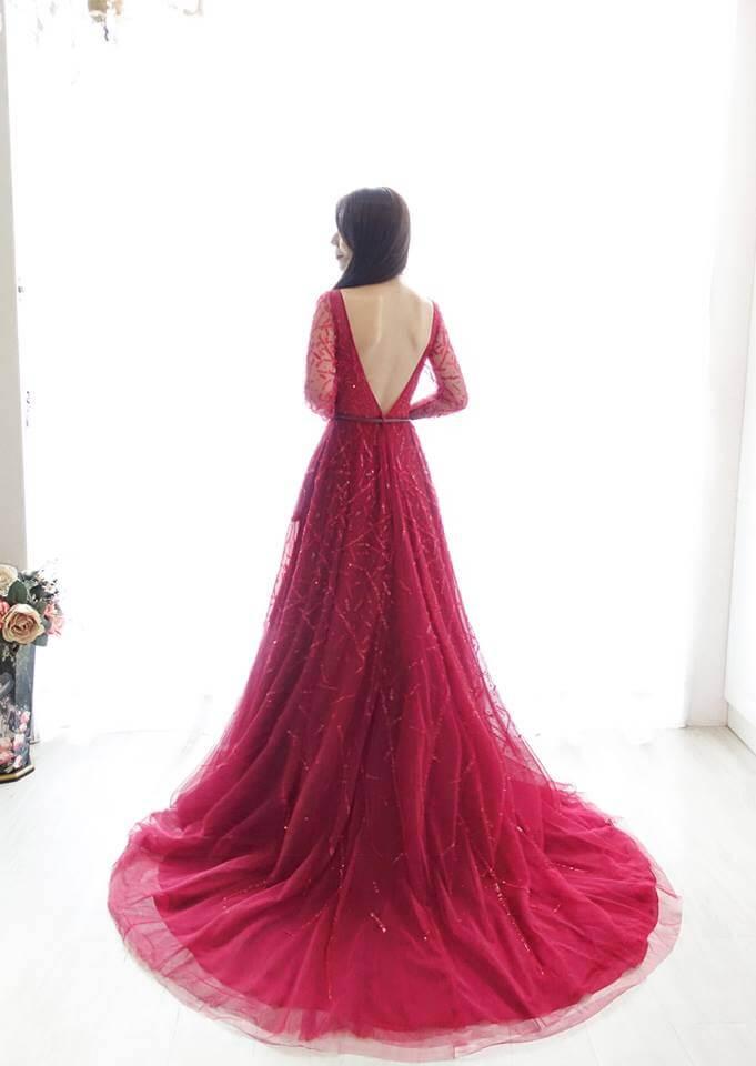 時尚薔薇紅開衩禮服- 愛情蔓延精緻婚紗 - 台中婚紗 | 禮服出租 | 婚紗推薦