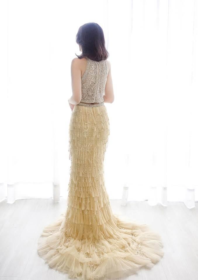 璀璨金削肩兩件式禮服 - 愛情蔓延精緻婚紗 - 台中婚紗 | 禮服出租 | 婚紗推薦