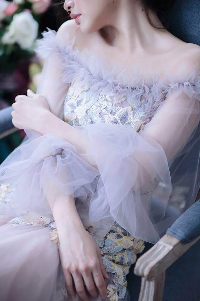 浪漫藕紫色泡袖禮服 - 愛情蔓延精緻婚紗 - 台中婚紗 | 禮服出租 | 婚紗推薦