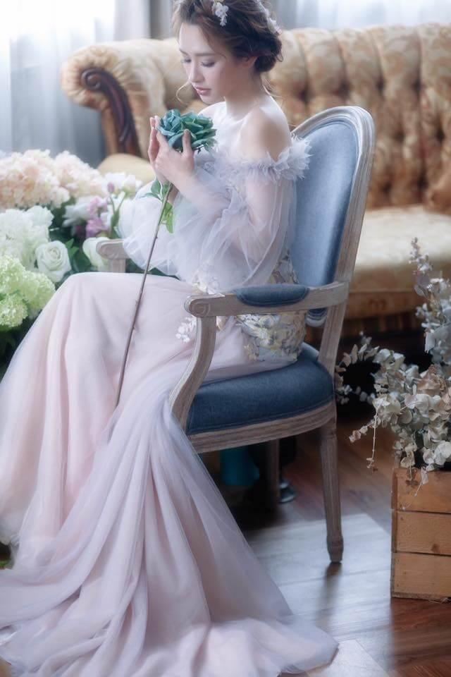 浪漫藕紫色泡袖禮服 - 愛情蔓延精緻婚紗 - 台中婚紗   禮服出租   婚紗推薦