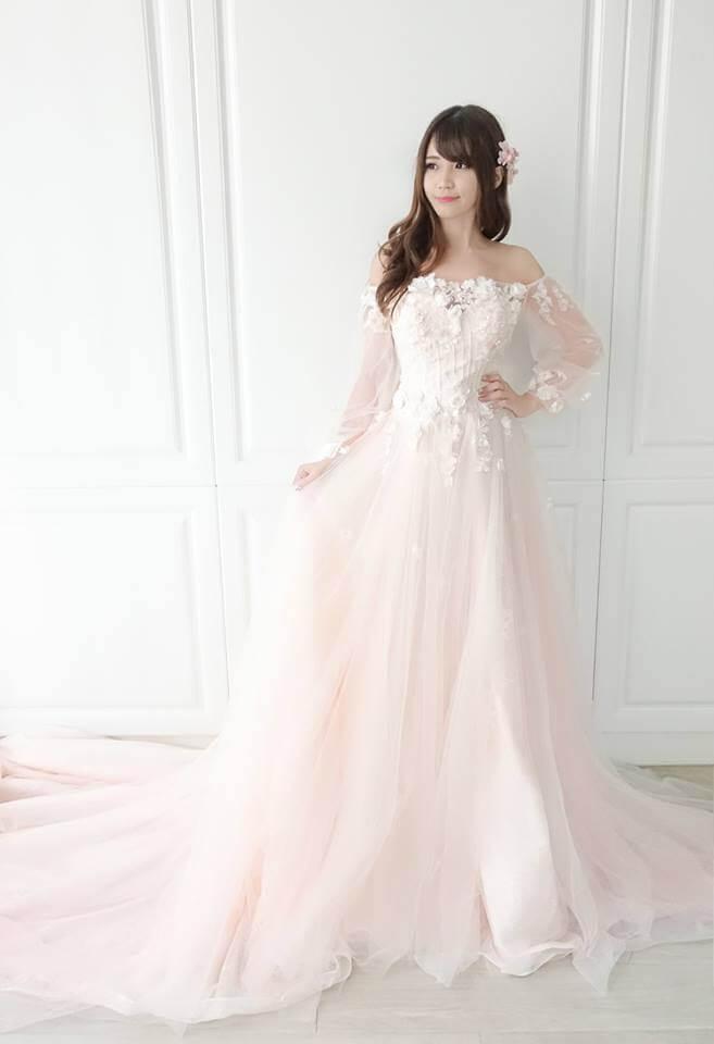 蜜桃粉橘仙女泡泡袖卡肩禮服 - 愛情蔓延精緻婚紗 - 台中婚紗 | 禮服出租 | 婚紗推薦