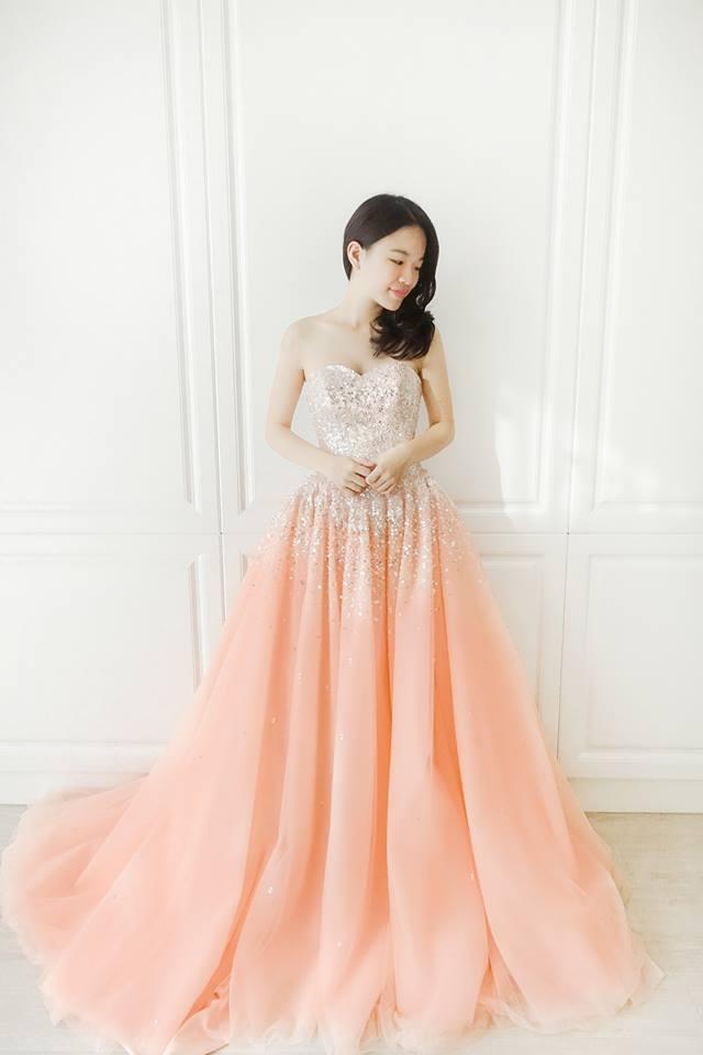 蜜桃亮片水鑽禮服 - 愛情蔓延精緻婚紗 - 台中婚紗 | 禮服出租 | 婚紗推薦