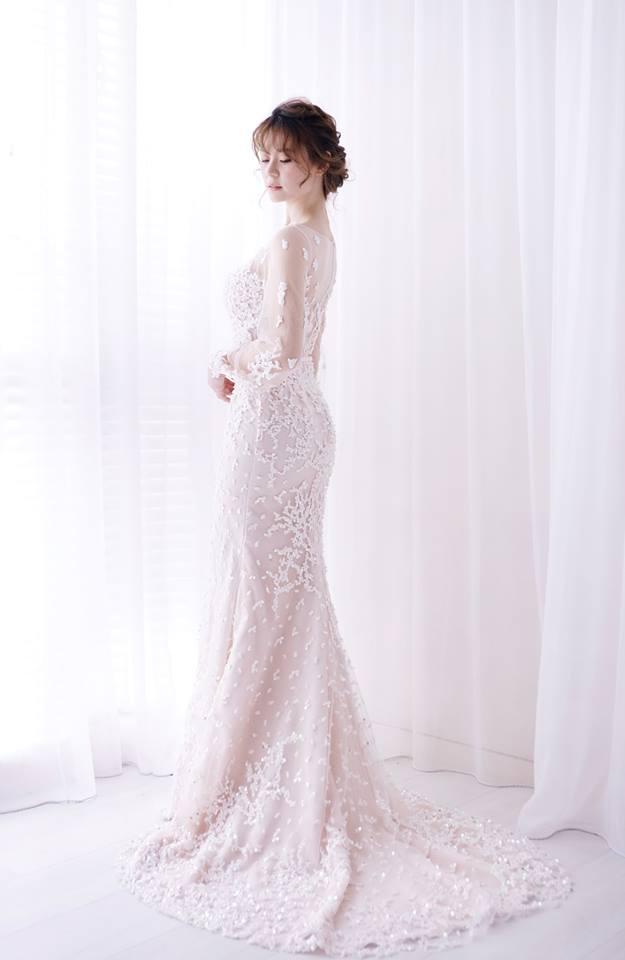 春之櫻粉燈籠袖禮服 - 愛情蔓延精緻婚紗 - 台中婚紗 | 禮服出租 | 婚紗推薦
