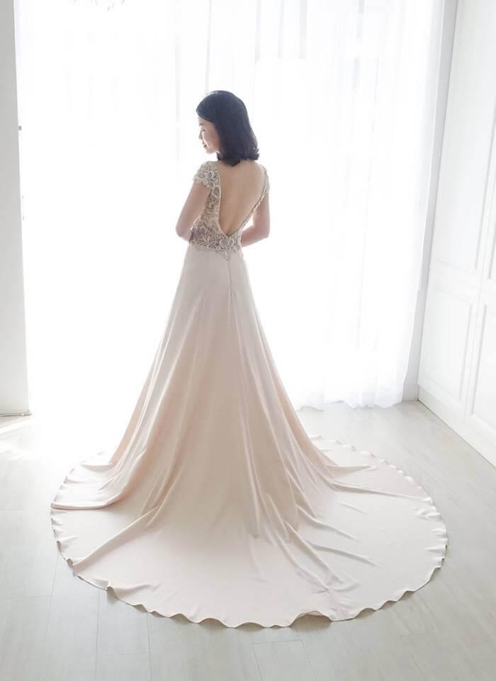 Casablanca閃耀香檳粉綢緞禮服 - 愛情蔓延精緻婚紗 - 台中婚紗 | 禮服出租 | 婚紗推薦