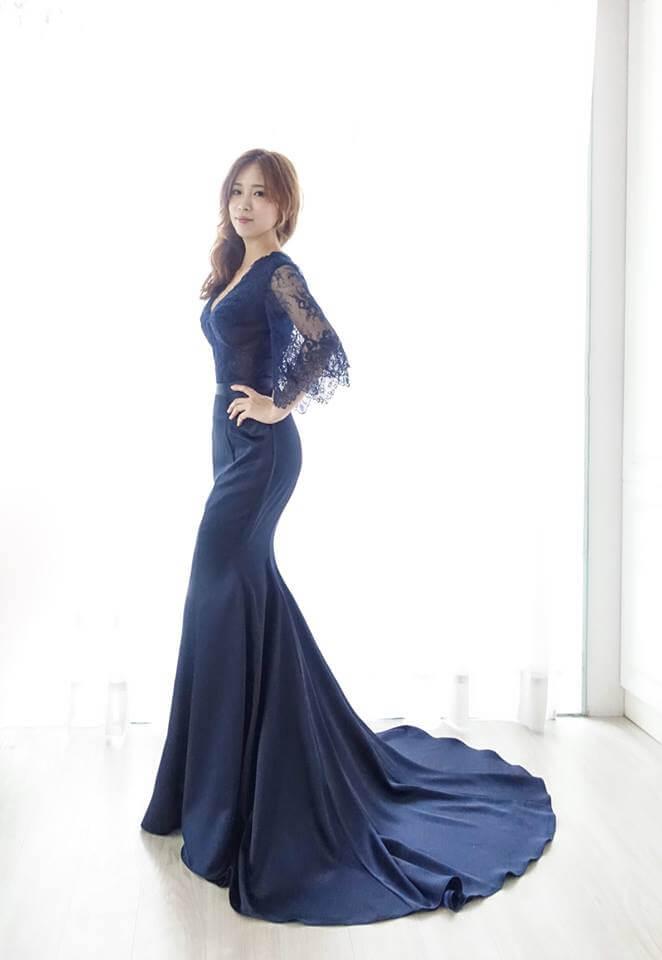 古典靛藍喇叭蕾絲袖魚尾 - 愛情蔓延精緻婚紗 - 台中婚紗 | 禮服出租 | 婚紗推薦