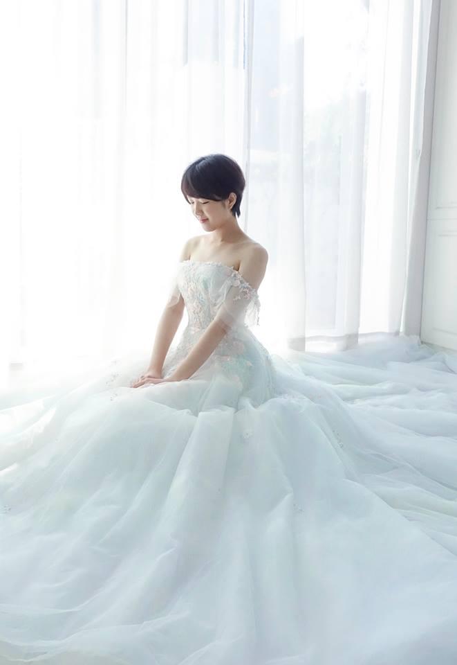 夢幻仙女系粉藍卡肩禮服 - 愛情蔓延精緻婚紗 - 台中婚紗 | 禮服出租 | 婚紗推薦