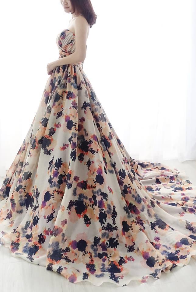 浪漫炫彩印花禮服 - 愛情蔓延精緻婚紗 - 台中婚紗 | 禮服出租 | 婚紗推薦