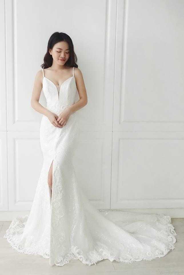 閃亮細肩帶開衩魚尾白紗 - 愛情蔓延精緻婚紗 - 台中婚紗 | 禮服出租 | 婚紗推薦