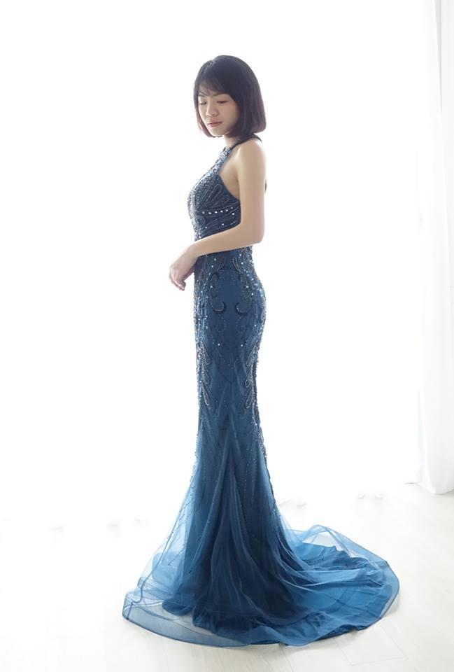 奢華削肩藏青藍禮服 - 愛情蔓延精緻婚紗 - 台中婚紗 | 禮服出租 | 婚紗推薦