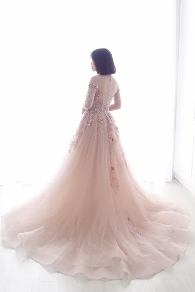 氣質乾燥玫瑰長袖禮服 - 愛情蔓延精緻婚紗 - 台中婚紗 | 禮服出租 | 婚紗推薦