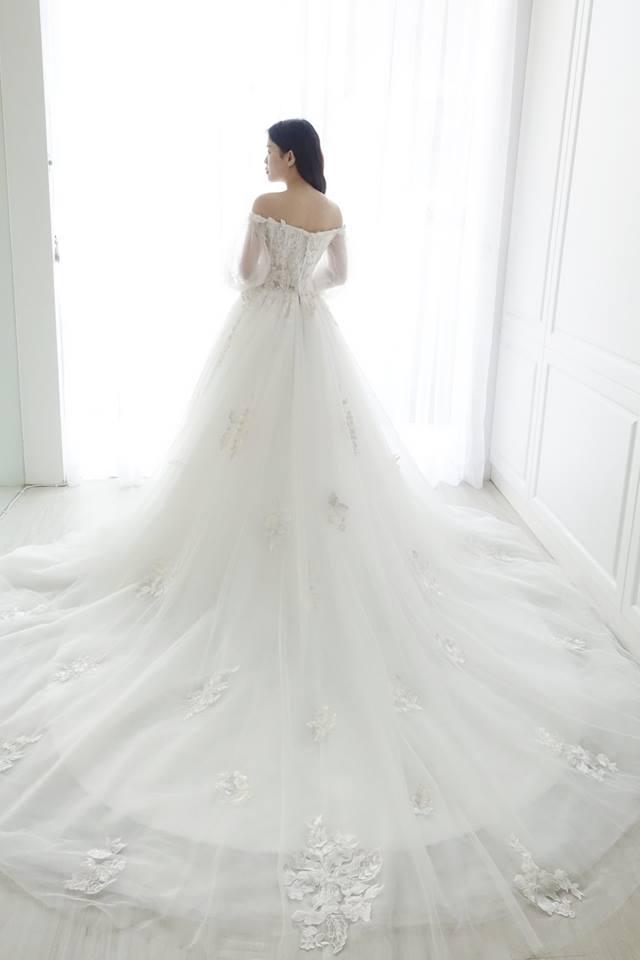 粉蕾絲蓬袖卡肩白紗 - 愛情蔓延精緻婚紗 - 台中婚紗 | 禮服出租 | 婚紗推薦