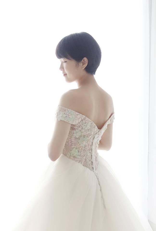 浪漫淡粉繡花卡肩禮服 - 愛情蔓延精緻婚紗 - 台中婚紗 | 禮服出租 | 婚紗推薦