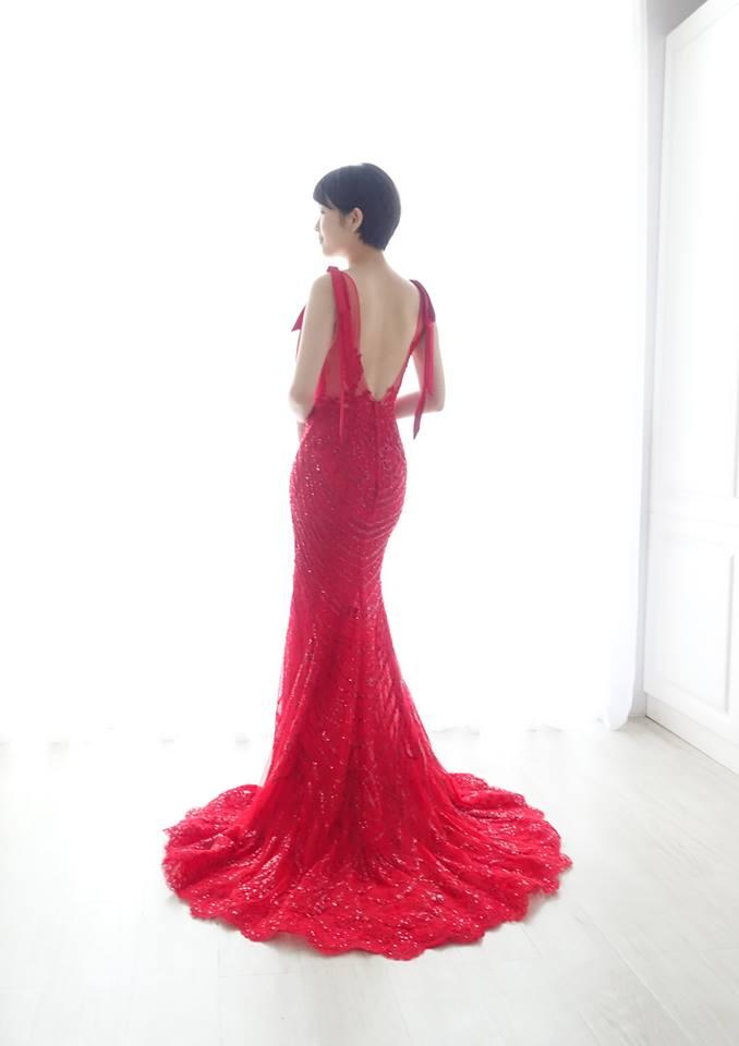 雙蝴蝶結深V紅禮服 - 愛情蔓延精緻婚紗 - 台中婚紗 | 禮服出租 | 婚紗推薦
