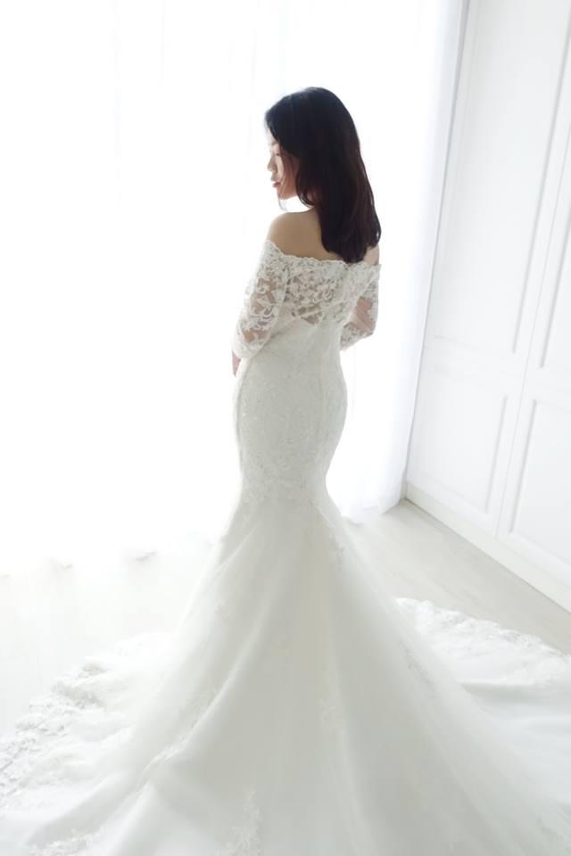 氣質蕾絲卡肩袖魚尾白紗 - 愛情蔓延精緻婚紗 - 台中婚紗 | 禮服出租 | 婚紗推薦