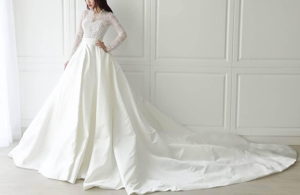 氣質蕾絲長袖拼緞白紗 - 愛情蔓延精緻婚紗 - 台中婚紗 | 禮服出租 | 婚紗推薦