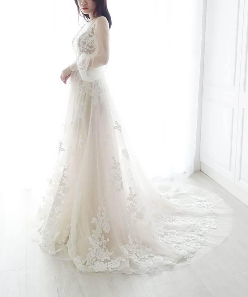 浪漫微透公主袖白紗 - 愛情蔓延精緻婚紗 - 台中婚紗 | 禮服出租 | 婚紗推薦