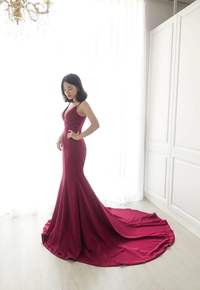 素雅細肩薔薇紅禮服 - 愛情蔓延精緻婚紗 - 台中婚紗 | 禮服出租 | 婚紗推薦