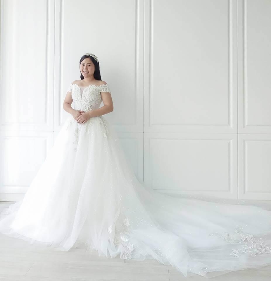 圖騰銀線縫珠卡肩白紗 - 愛情蔓延精緻婚紗 - 台中婚紗 | 禮服出租 | 婚紗推薦