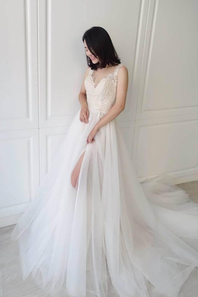 氣質網紗雙色 - 愛情蔓延精緻婚紗 - 台中婚紗   禮服出租   婚紗推薦