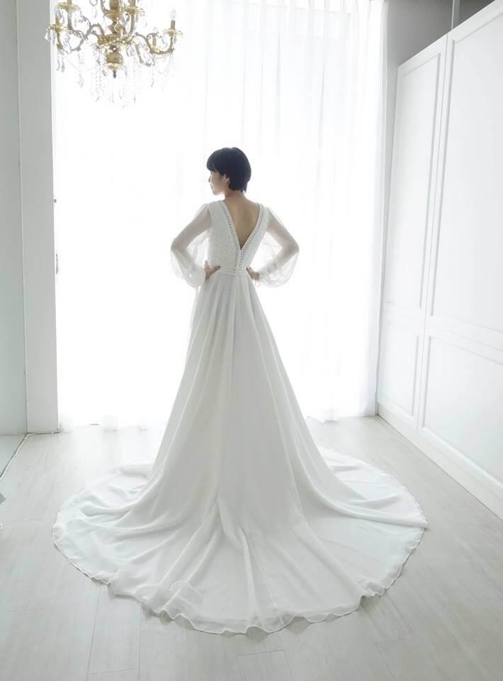 浪漫雪紡公主袖 - 愛情蔓延精緻婚紗 - 台中婚紗 | 禮服出租 | 婚紗推薦