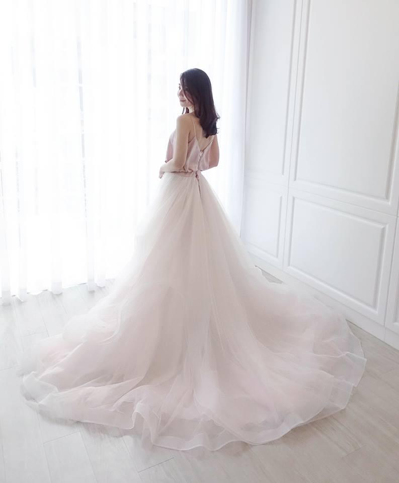 甜美細肩帶兩穿式粉 - 愛情蔓延精緻婚紗 - 台中婚紗   禮服出租   婚紗推薦