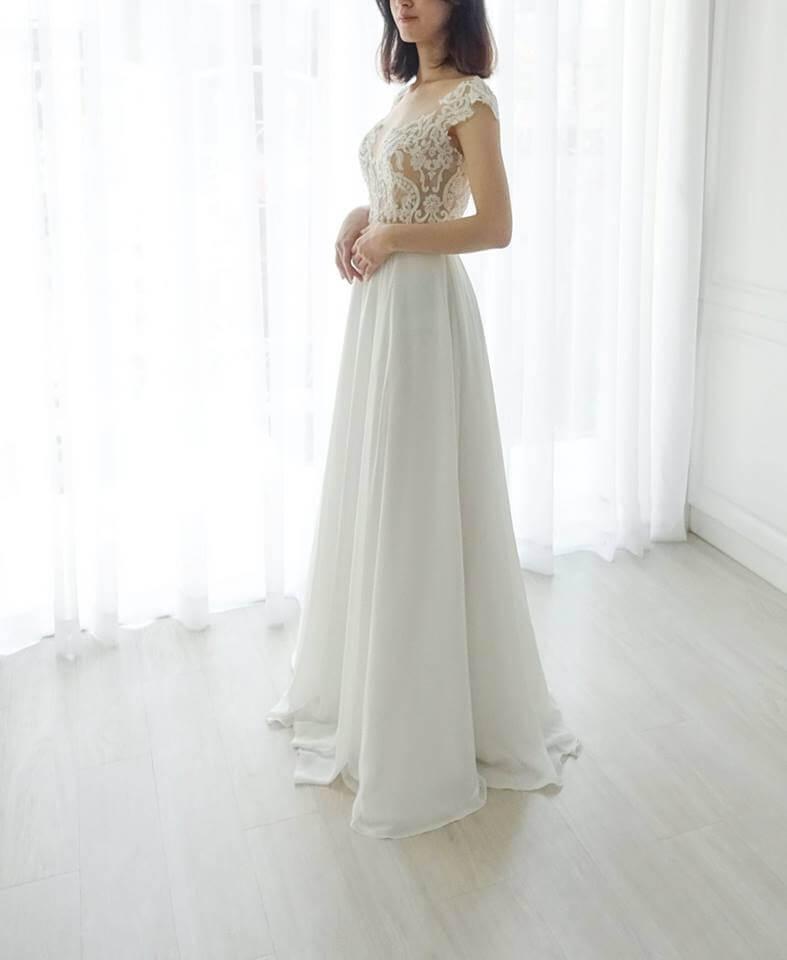 特色裸膚圖騰白紗 - 台中婚紗 | 禮服出租 | 婚紗推薦