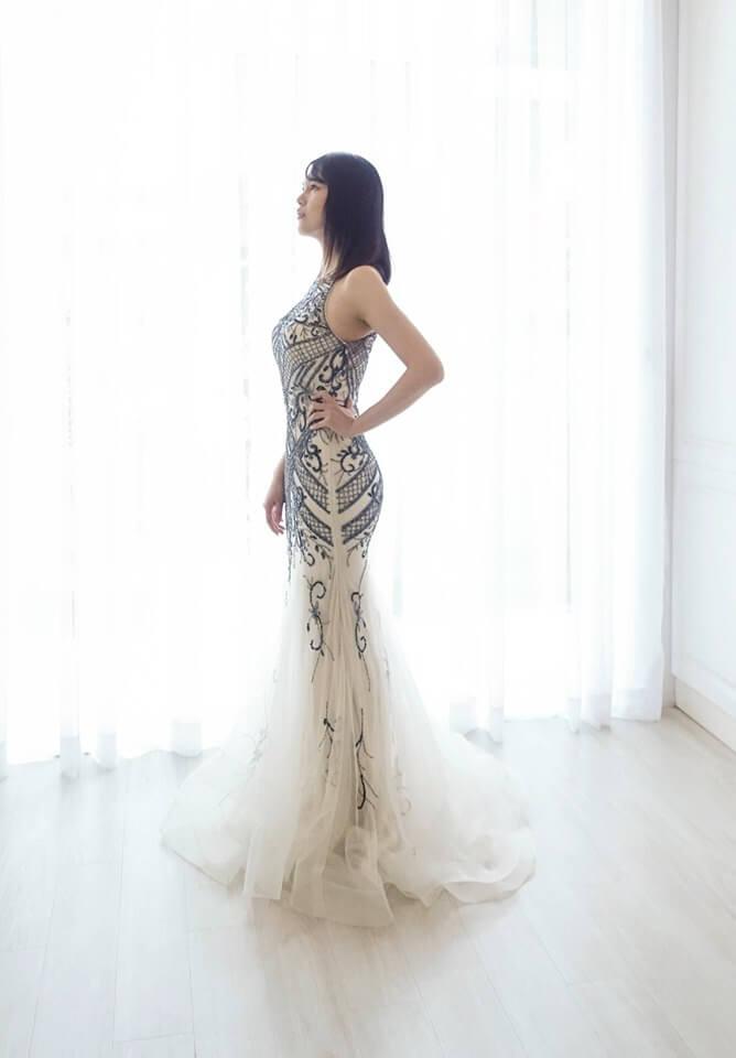 黯藍圖騰削肩裸紗禮服 - 台中婚紗 | 禮服出租 | 婚紗推薦
