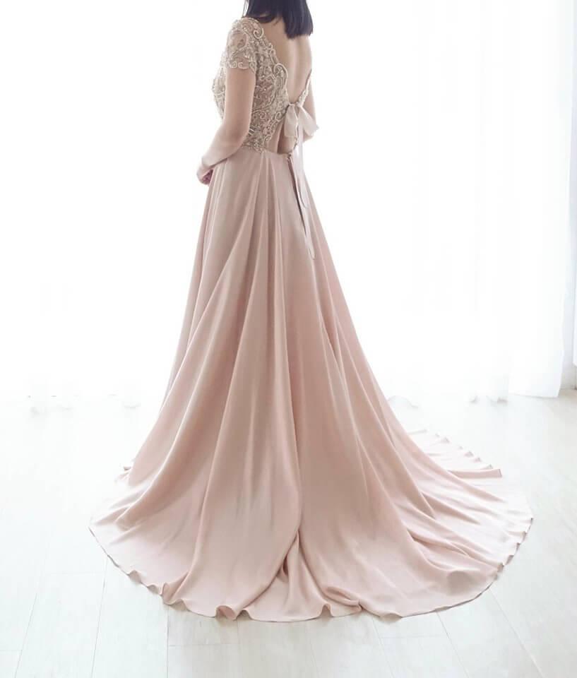 氣質縫珠玫瑰粉禮服 - 台中婚紗 | 禮服出租 | 婚紗推薦