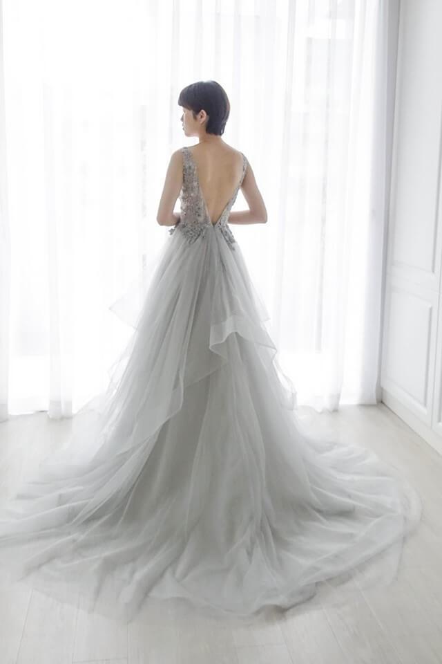 璀璨冰霧灰層次禮服 - 台中婚紗 | 禮服出租 | 婚紗推薦