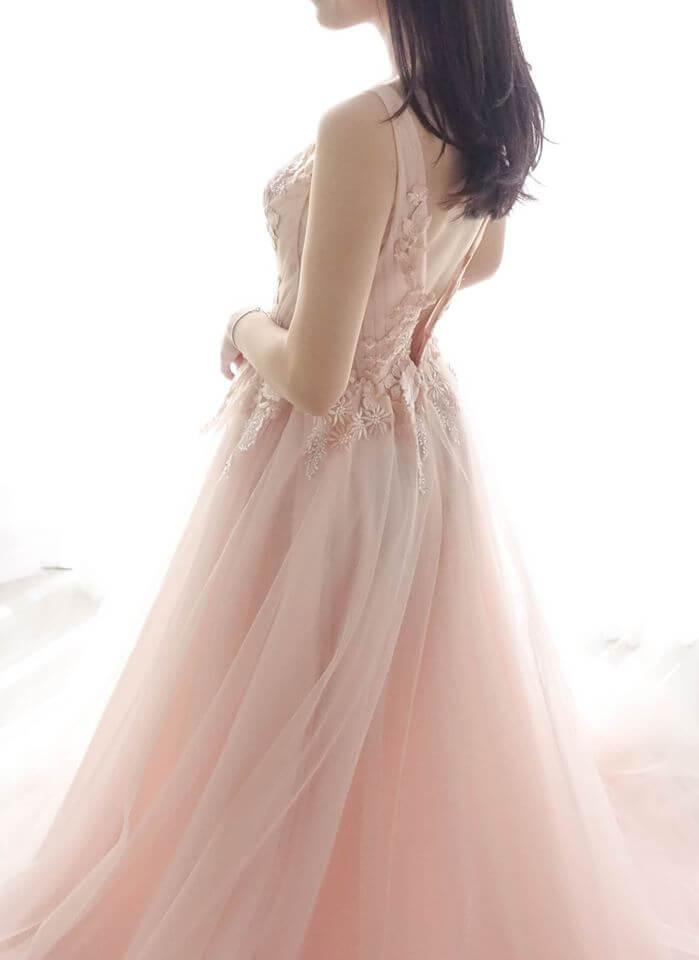 浪漫花朵粉紗禮服 - 台中婚紗 | 禮服出租 | 婚紗推薦