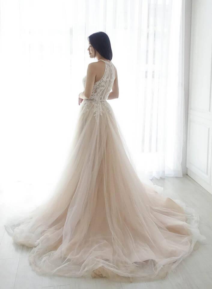 削肩珍珠香檳白紗 - 台中婚紗 | 禮服出租 | 婚紗推薦